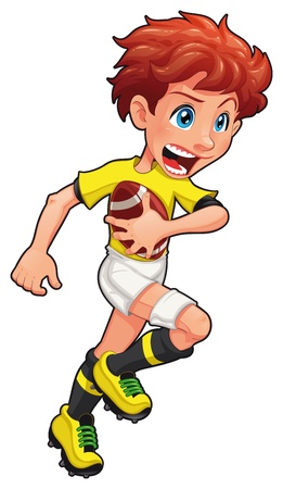 rugby ball: Jugador de rugby. Vector de cartoon y car�cter aislado de deporte.