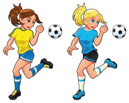blonde hair cartoon: Soccer female players. Vector cartoon and isolated sport characters.