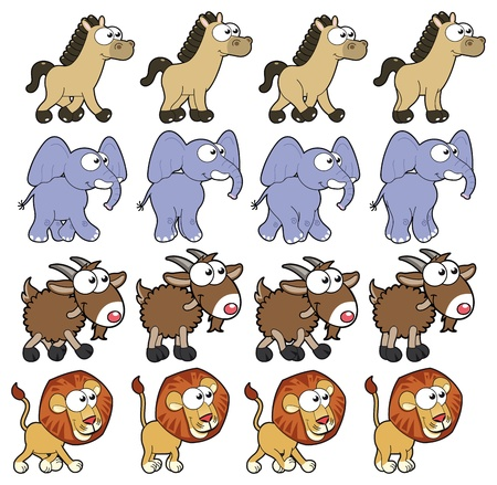 Animal Walking animations. Vector cartoon and isolated characters. You can use four frames in loop, each animal. Vector