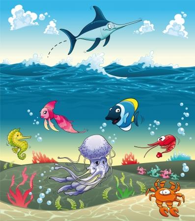 pez espada: Bajo el mar con peces y otros animales. Divertidos dibujos animados e ilustración vectorial. Vectores
