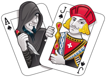 spade: Black Jack. Funny cartoon and vector illustration