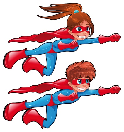 irm�o: Young superheroes. Funny cartoon and vector characters. Isolated objects