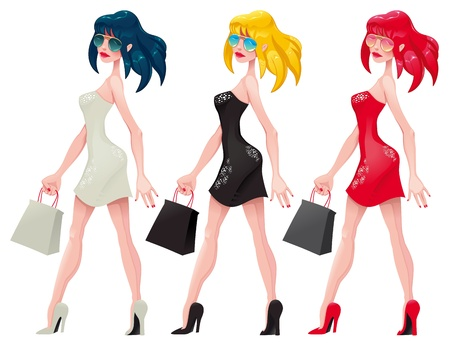 Shopping  Girls. Cartoon and vector isolated characters.   Vector