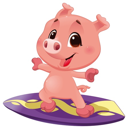 porker: Pig with surf. Funny cartoon and vector sporty isolated character