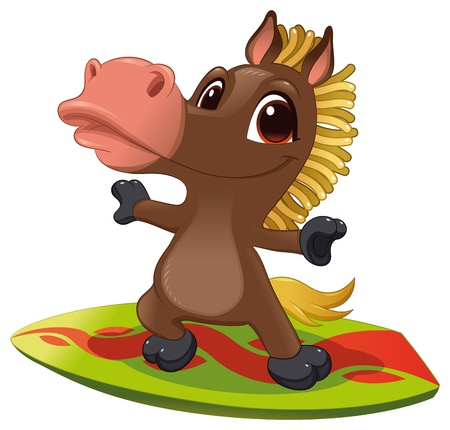 ponies: Horse with surf. Funny cartoon and vector sporty isolated character Illustration
