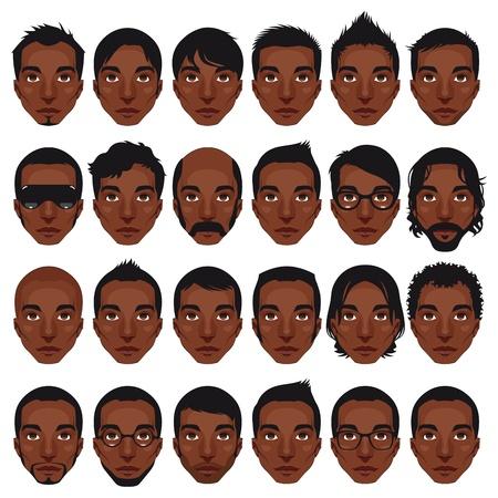 Avatar, men's portraits. Vector isolated hairstyles Illustration