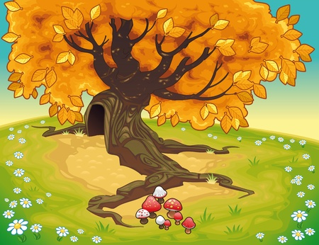 Tree in autumnal landscape. Vector coloured illustration  Vector