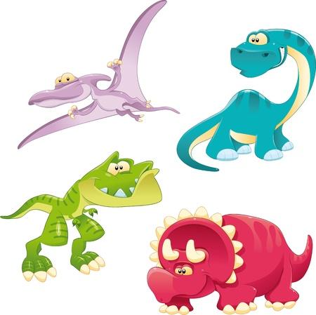 Los dinosaurios de la Familia. Divertidos dibujos animados y personajes de vectores