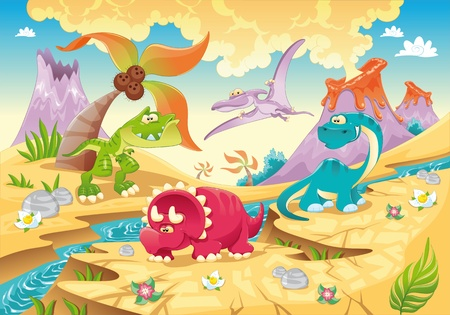 pterodactyl: Dinosaurs Family with background. Funny cartoon and vector illustration