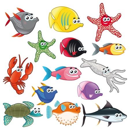 calamar: Familia de peces divertido. Vector aislados caracteres.