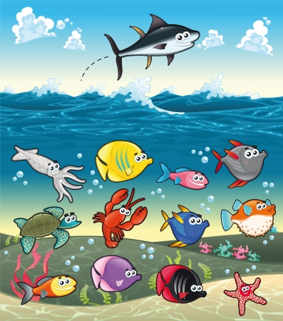 Family of funny fish under the sea. Vector characters.  Vector