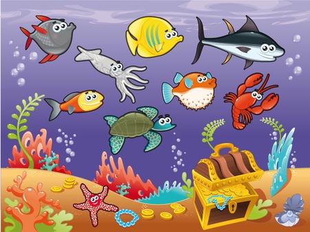 Familia de peces divertido bajo el mar. Ilustración vectorial.