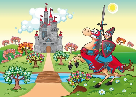 castle tower: Panorama with medieval castle and knight. Cartoon and vector illustration.