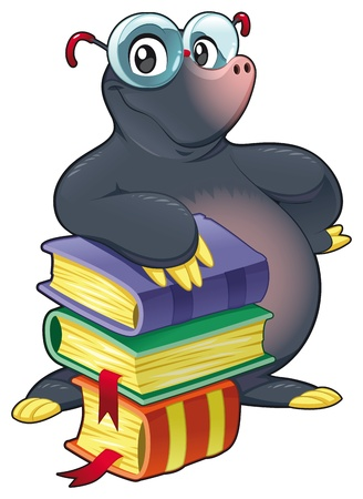 librarian: Mole with books. Funny cartoon and vector isolated character