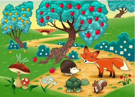 bridge in the forest: Animals in the wood. Funny cartoon and vector illustration