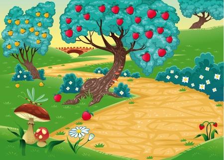 flor caricatura: Madera con árboles frutales. Divertidos dibujos animados y vector