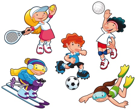 Sport characters. Cartoon isolated boys and girls.  Vector