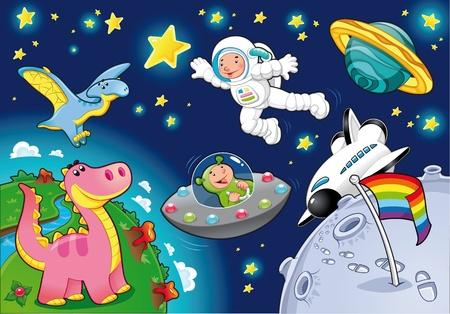 El hombre en el espacio. Dibujos animados, ilustración. Ilustración de vector