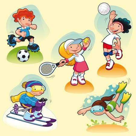 exercise cartoon: Sport characters with background. Cartoon illustration.