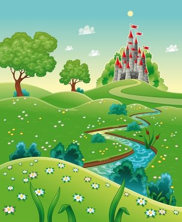 hadas caricatura: Panorama con castillo. De dibujos animados e ilustración vectorial.
