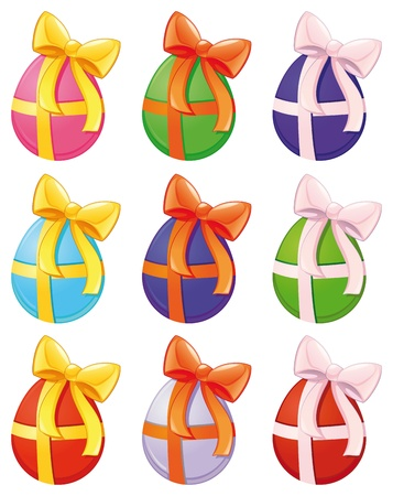Paschal eggs in different colors. Vector isolated objects.  Vector