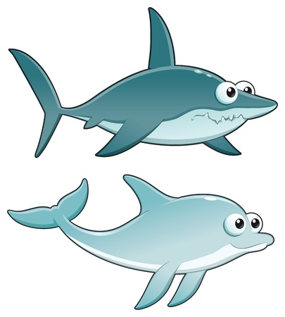 Dolphin and Shark. Funny cartoon and vector isolated characters. Vector