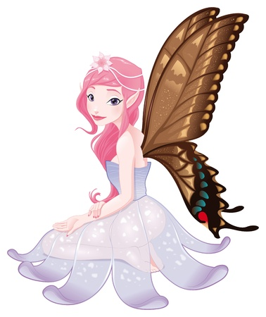 daisy pink: Young fairy. Funny cartoon and isolated character.  Illustration