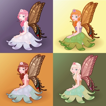 butterfly and women: Young fairies. Funny cartoon and illustration.