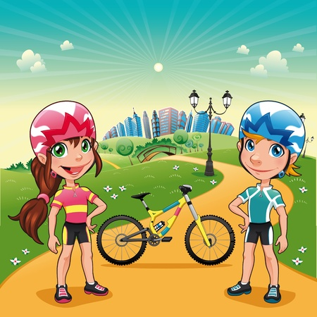 girl on bike: Park with young bikers. Funny cartoon and vector scene.