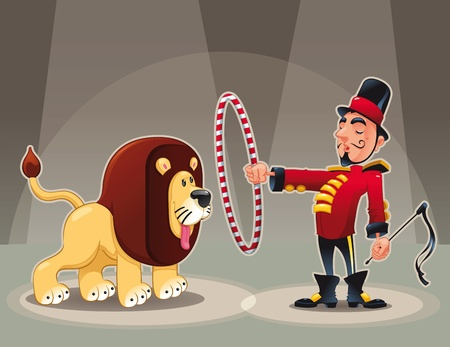 Lion Tamer with lion. Funny cartoon  Vector