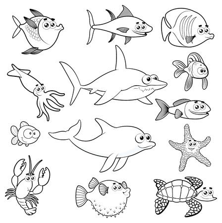Family of funny fish. Illustration