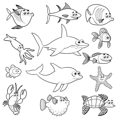 Family of funny fish. Vector