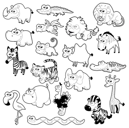 Savannah animal family. Vector