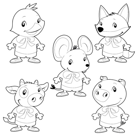 Cute animal family. Vector