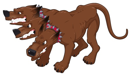 Cerberus. Vector isolated character.  Vector