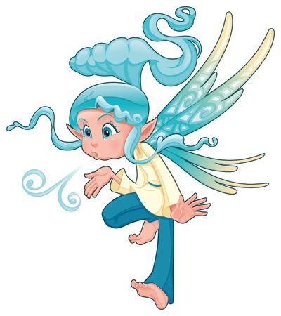 fairy vector: Young fairy blowing a spell. Funny cartoon and vector isolated character.  Illustration