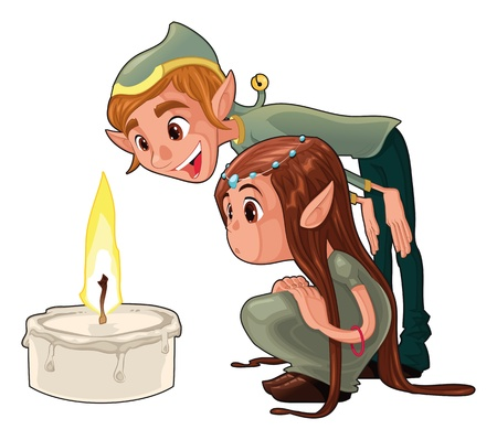 Young elfs with a candle. Funny cartoon and vector scene.  Vector