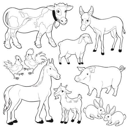 mula: de dibujos animados los personajes aislados negro  blanco.