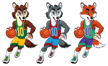 Basketball mascots. Funny cartoon and vector isolated characters