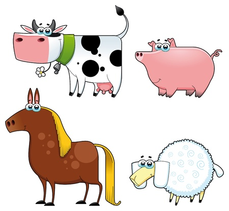Funny farm animals. Cartoon and isolated characters.  Vector