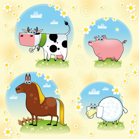 Funny farm animals. Vector