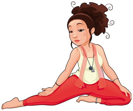 Yoga Position. Funny cartoon and vector isolated illustration.  Vector
