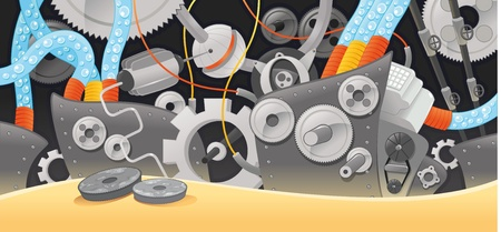 Various types of mechanisms. Funny cartoon and illustration.  Vector