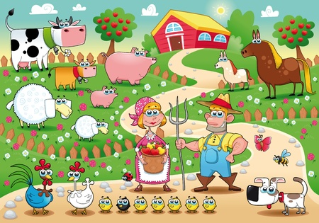 Farm Family. Funny cartoon and vector illustration.  Vector