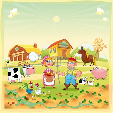 Farm Family. Funny cartoon illustration.  Vector