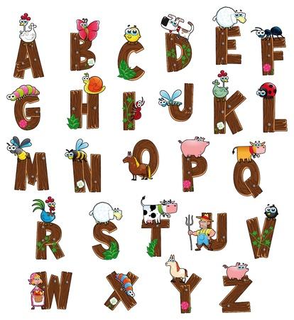 cow farm: Alfabeto con gli animali e gli agricoltori. Cartone animato divertente e lettere isolate. Vettoriali