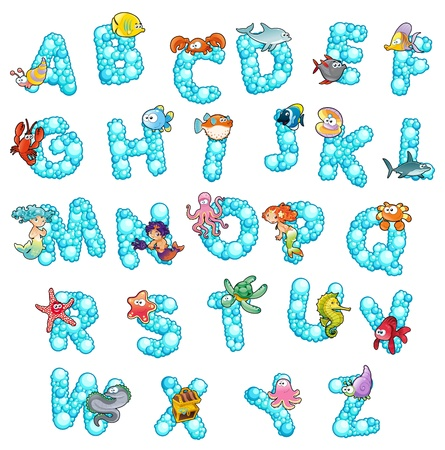 stella marina: Alfabeto con pesce e divertente cartone animato bolle e lettere isolate
