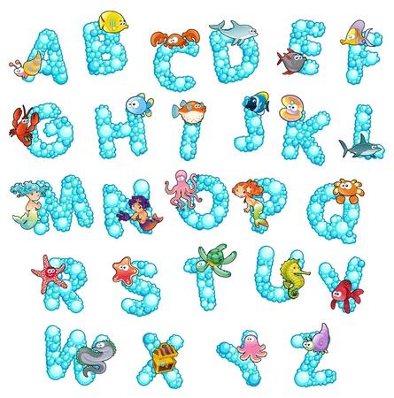 alfabeto con animales: Alfabeto de peces y burbujas de dibujos animados divertido y letras aisladas Vectores