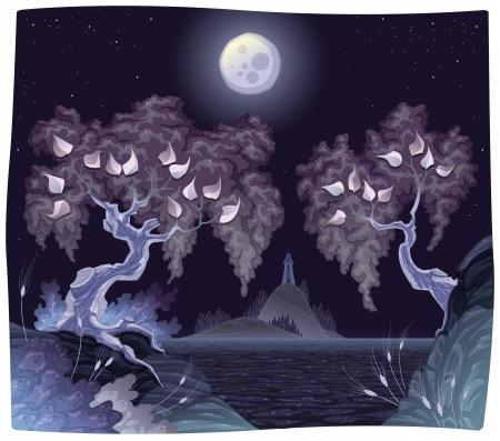 zypresse: Romanitc Landschaft am Meer in der Nacht. Illustration