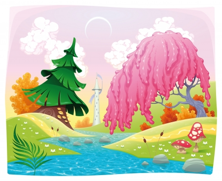 Fantasy landscape on the riverside. Vector